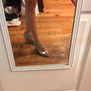 Donald J. Pliner Shoes - Donald Pliner silver cork wedge size 8.